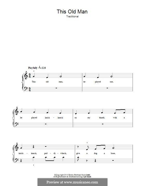 This Old Man: Для фортепиано (легкий уровень) by folklore