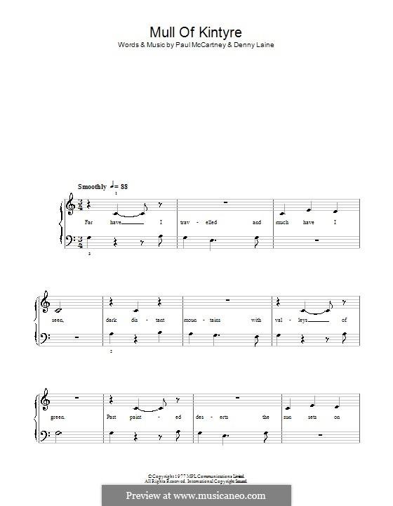 Mull of Kintyre (Wings): Для фортепиано (легкий уровень) by Denny Laine, Paul McCartney