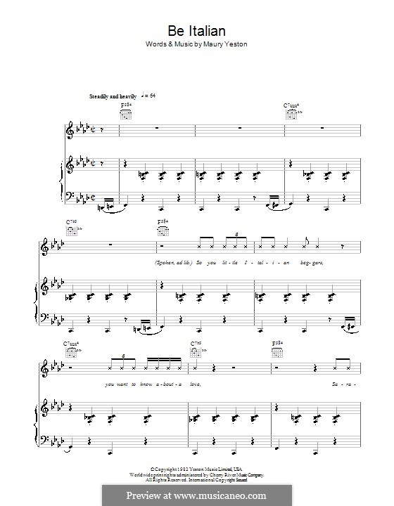 Be Italian: Для голоса и фортепиано (или гитары) by Maury Yeston