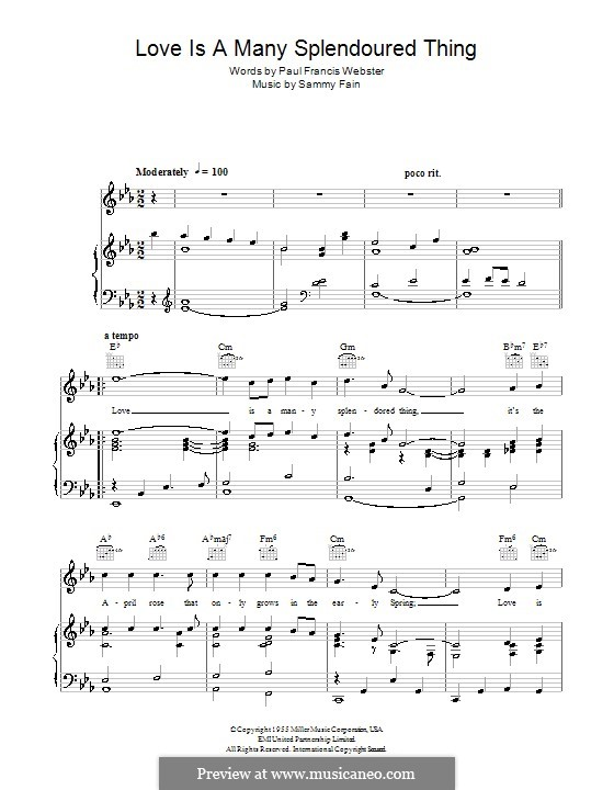 Love Is a Many-Splendored Thing (The Four Aces): Для голоса и фортепиано (или гитары) by Sammy Fain