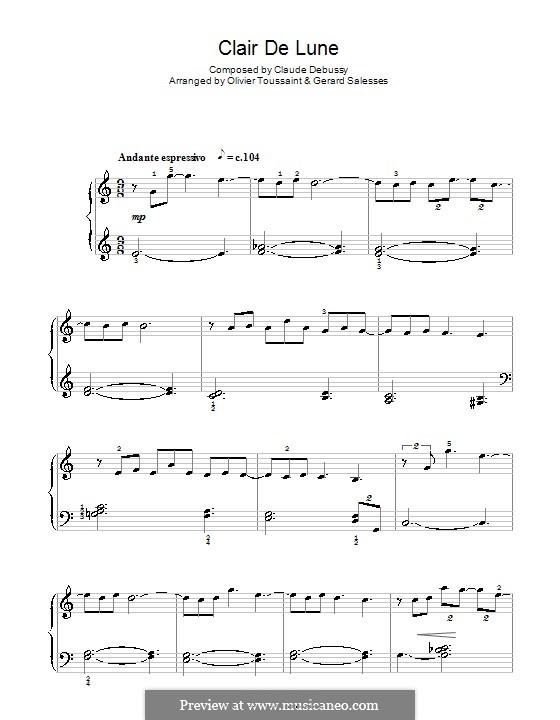 No.3 Лунный свет, для фортепиано: Version by G. Salessen and O. Toussaint by Клод Дебюсси