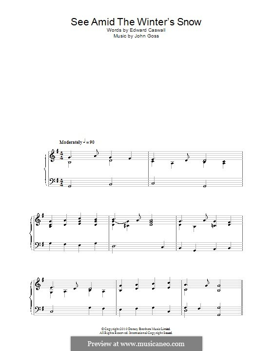 See Amid the Winter's Snow: Для фортепиано by John Goss