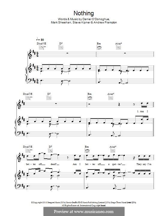 Nothing (The Script): Для голоса и фортепиано (или гитары) by Andrew Frampton, Danny O'Donoghue, Mark Sheehan, Stephen Alan Kipner