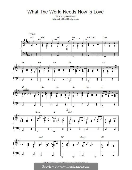 What the World Needs Now Is Love: Для фортепиано by Burt Bacharach