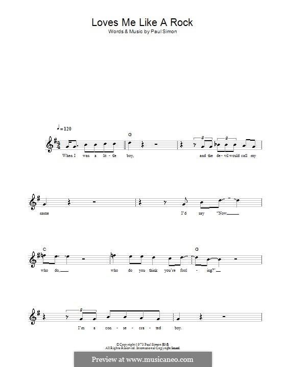 Loves Me Like a Rock: Мелодия, текст и аккорды by Paul Simon