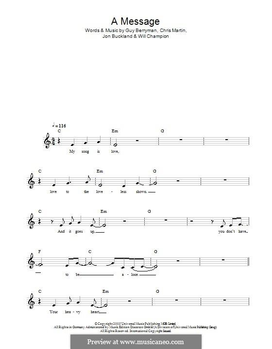 A Message (Coldplay): Мелодия, текст и аккорды by Chris Martin, Guy Berryman, Jonny Buckland, Will Champion