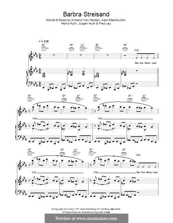 Barbra Streisand (Duck Sauce): Для голоса и фортепиано (или гитары) by Alain Macklovitch, Armand Van Helden, Fred Jay, Heinz Huth, Jürgen Huth