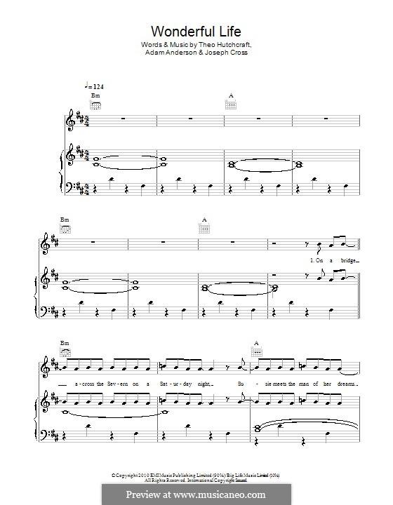 Wonderful Life (Hurts): Для голоса и фортепиано (или гитары) by Adam Anderson, Joseph Cross, Theo Hutchcraft