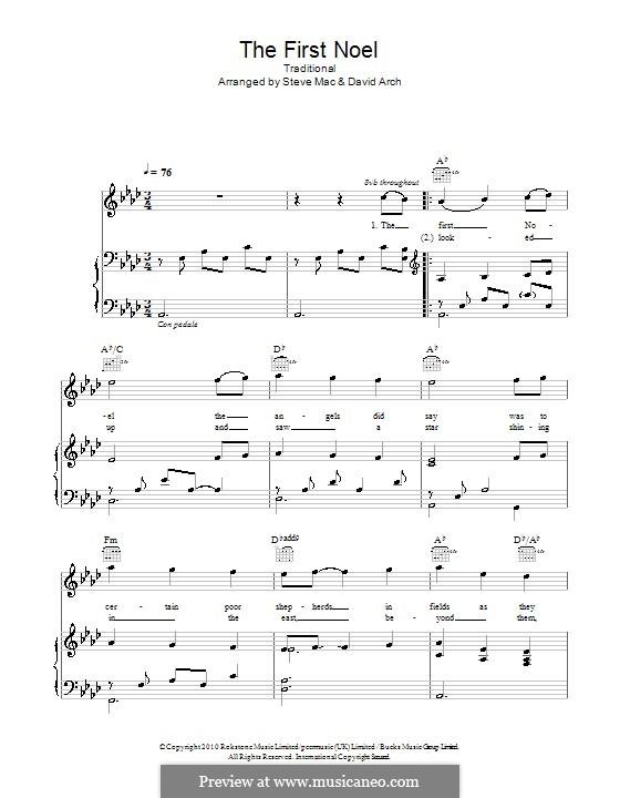 The First Nowell (The First Noël), Printable scores: Для голоса и фортепиано или гитары (Ля-бемоль мажор) by folklore