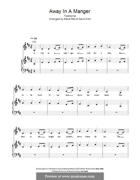 Away in a Manger: Для голоса и фортепиано (или гитары) by folklore