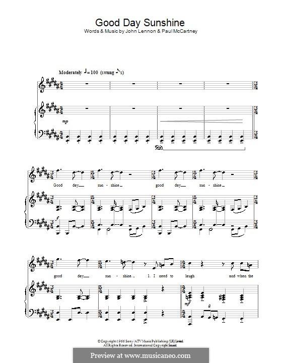Good Day Sunshine (The Beatles): Для голоса и фортепиано (или гитары) by John Lennon, Paul McCartney