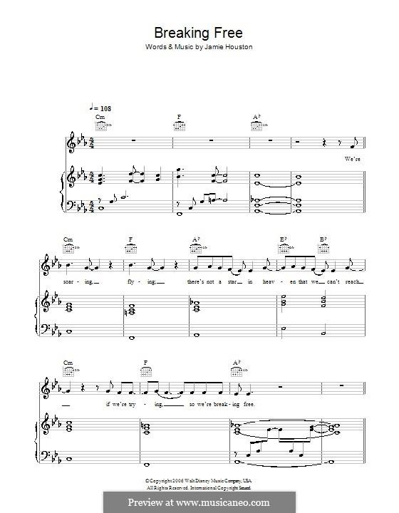 Breaking Free (from High School Musical): Для голоса и фортепиано (или гитары) by Jamie Houston