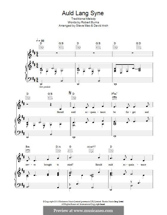 Auld Lang Syne: Для голоса и фортепиано (или гитары) by folklore