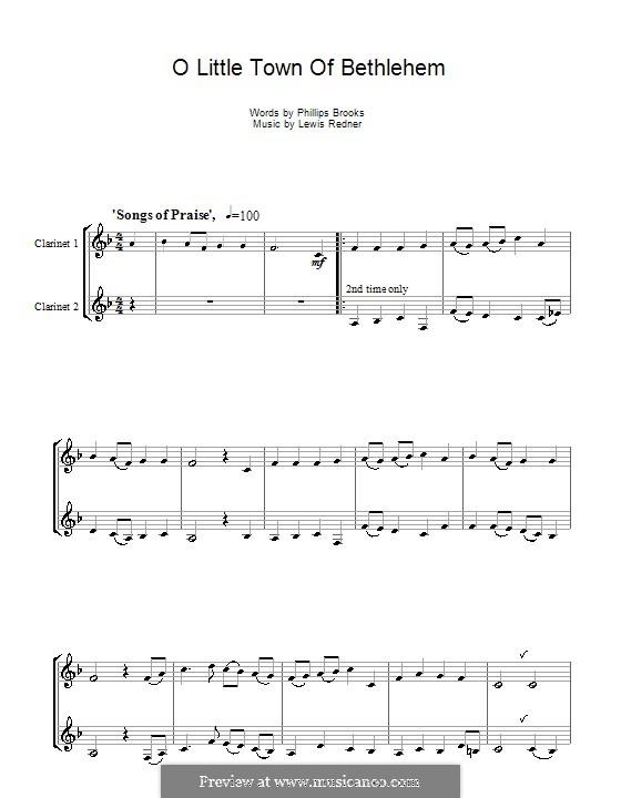 О малый город Вифлеем: Для двух кларнетов by Льюис Генри Реднер