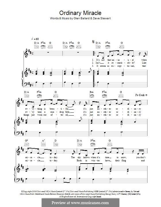 Ordinary Miracle (from Charlotte's Web): Для голоса и фортепиано или гитары (Sarah McLachlan) by David A. Stewart, Glen Ballard