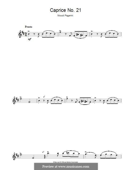 Двадцать четыре каприса, Op.1: Каприс No.24, для саксофона by Никколо Паганини