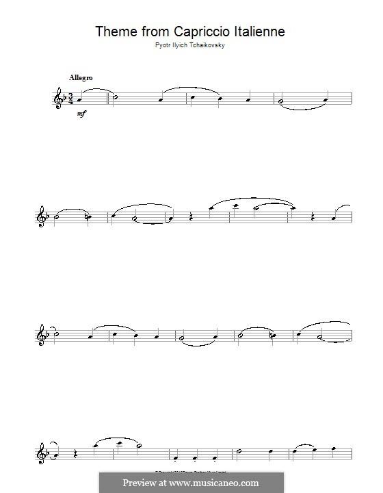 Итальянское каприччио, TH 47 Op.45: Переложение для саксофона (Фрагмент) by Петр Чайковский
