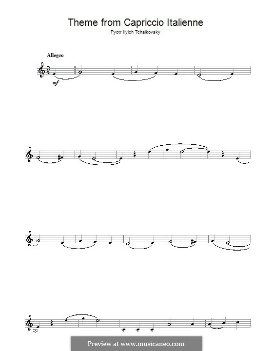 Итальянское каприччио, TH 47 Op.45: Переложение для кларнета (Фрагмент) by Петр Чайковский
