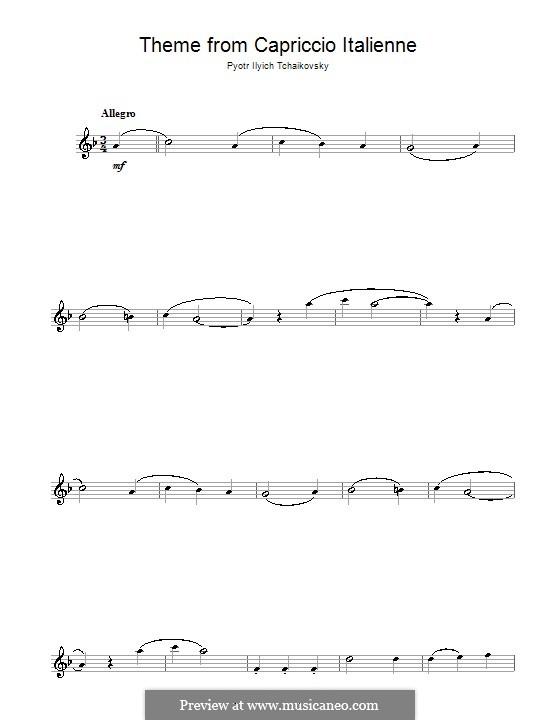 Итальянское каприччио, TH 47 Op.45: Переложение для флейты (Фрагмент) by Петр Чайковский