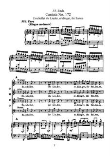 Erschallet, ihr Lieder, erklinget, ihr Saiten!, BWV 172: Аранжировка для голосов и фортепиано by Иоганн Себастьян Бах