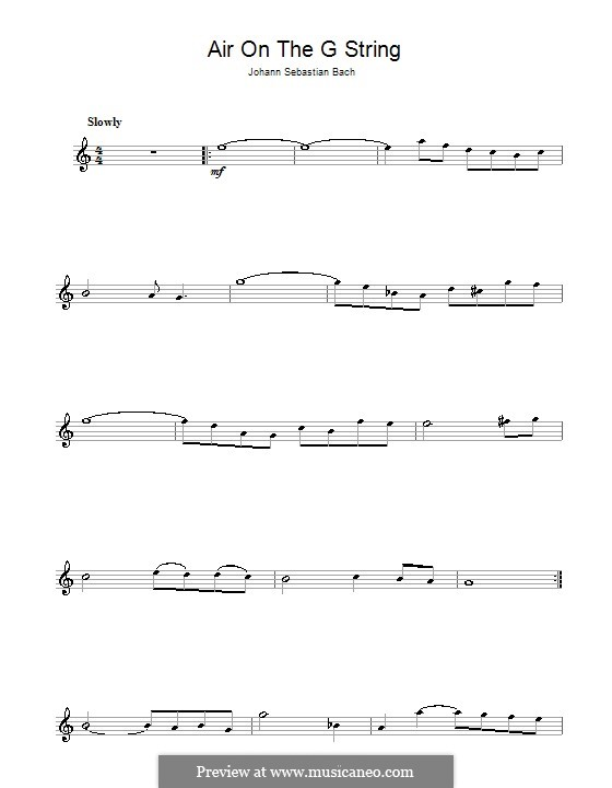 Aria (Printable Scores): Версия для флейты by Иоганн Себастьян Бах