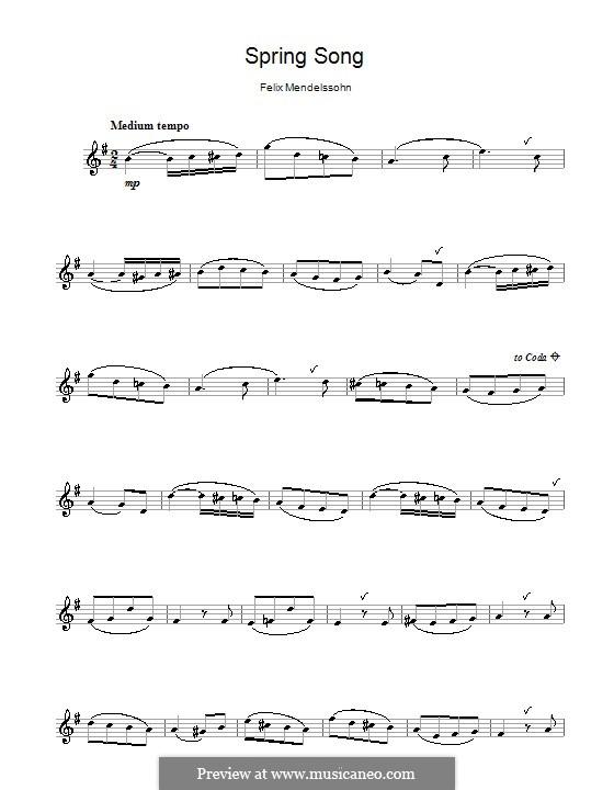 Песни без слов, Op.62: No.6 Весенняя песня, для флейты by Феликс Мендельсон-Бартольди
