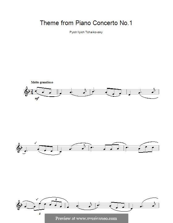 Концерт для фортепиано с оркестром No.1 си-бемоль минор, TH 55 Op.23: Movement I (Theme), for clarinet by Петр Чайковский