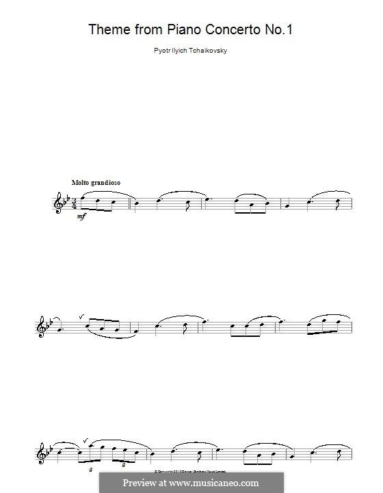 Концерт для фортепиано с оркестром No.1 си-бемоль минор, TH 55 Op.23: Movement I (Theme), for flute by Петр Чайковский