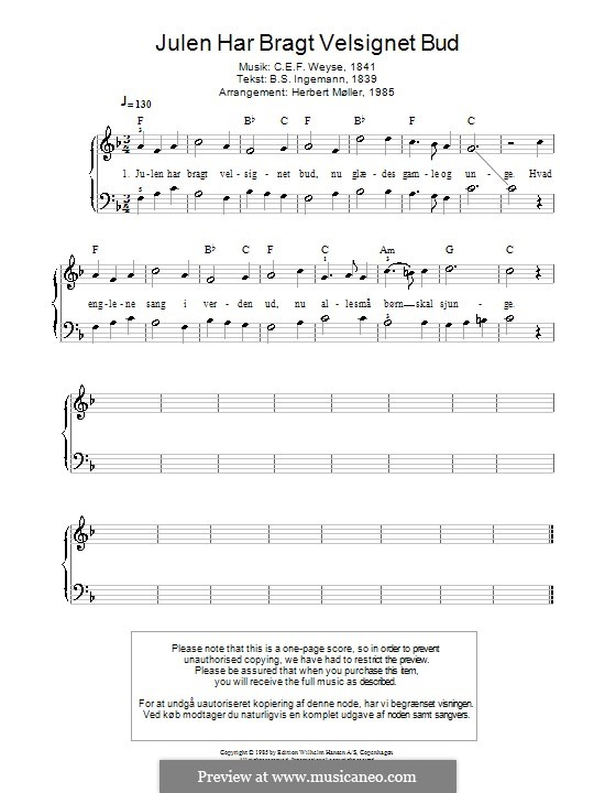 Julen Har Bragt Velsignet Bud: Для фортепиано by Кристофер Эрнст Фридрих Вейсе