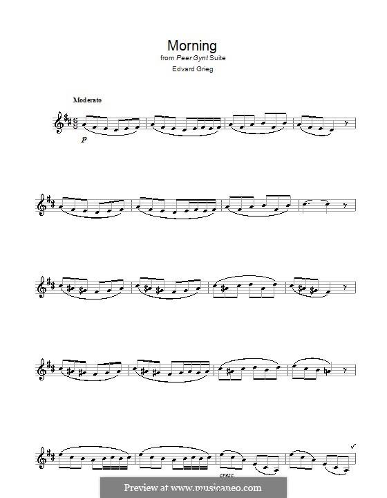 Сюита No.1. Утро, Op.46 No.1: Для кларнета by Эдвард Григ