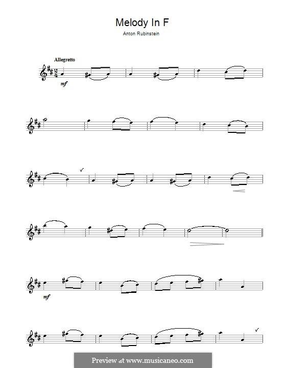 Две мелодии, Op.3: Melody No.1, for alto saxophone by Антон Рубинштейн