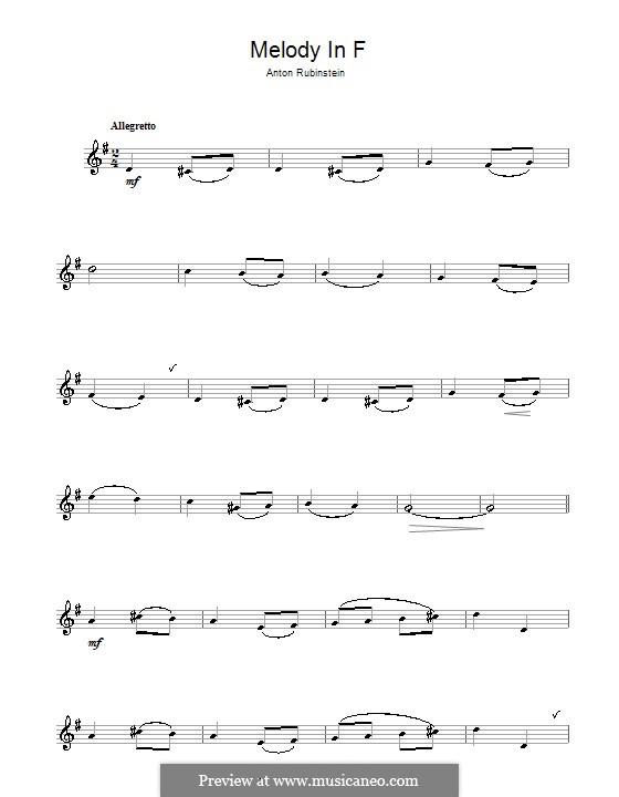 Две мелодии, Op.3: Мелодия No.1, для кларнета by Антон Рубинштейн