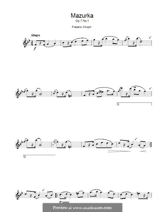 Мазурки, Op.7: No.1, for alto saxophone by Фредерик Шопен