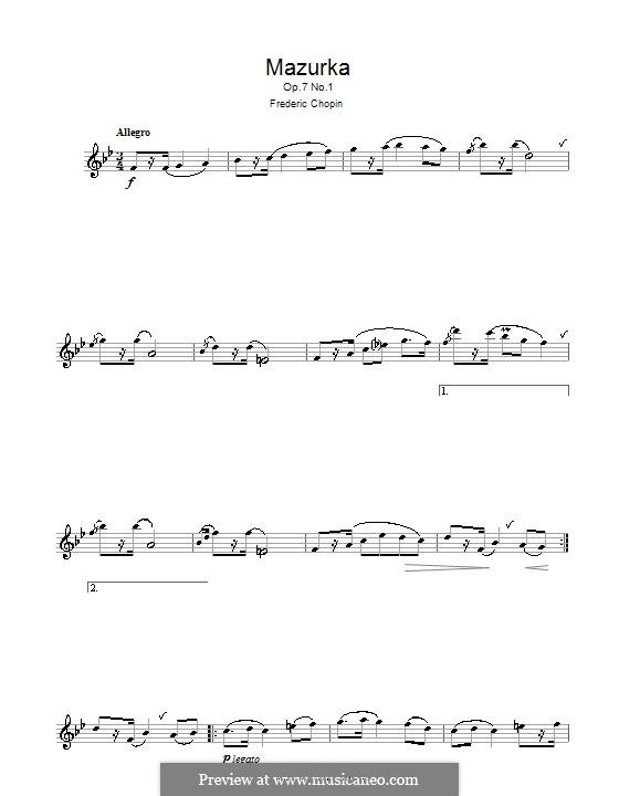 Мазурки, Op.7: No.1, для флейты by Фредерик Шопен