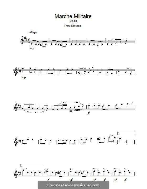 Три военных марша, для фортепиано в четыре руки, D.733 Op.51: Марш No.1, для флейты by Франц Шуберт