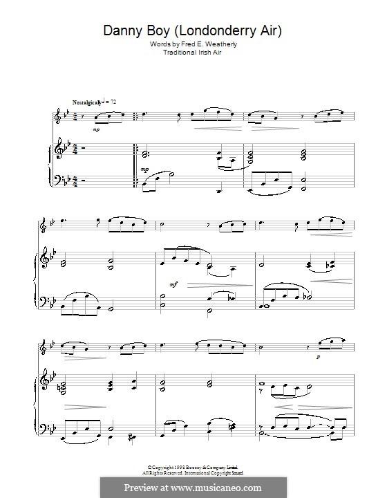 Danny Boy (Londonderry Air) Printable Scores: Для флейты by folklore