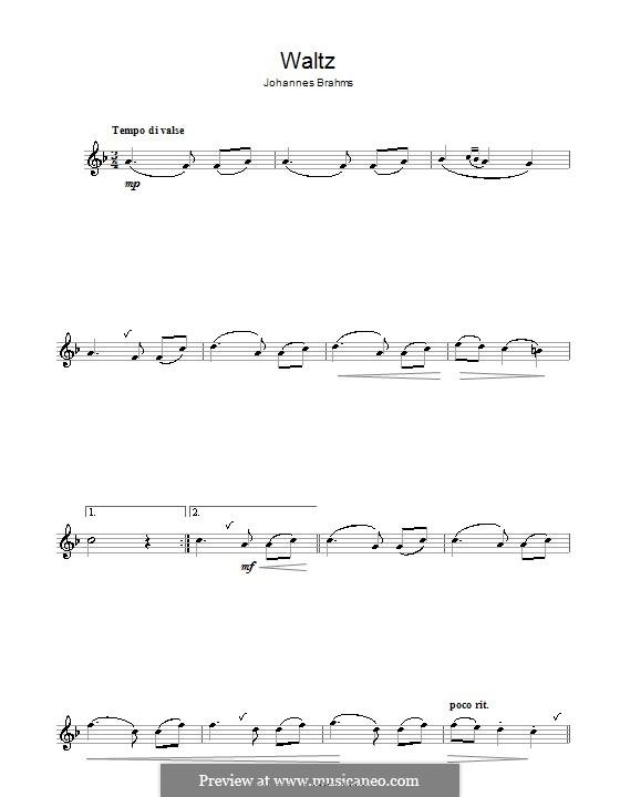 Вальс соль мажор, Op.39 No.15: Для флейты by Иоганнес Брамс