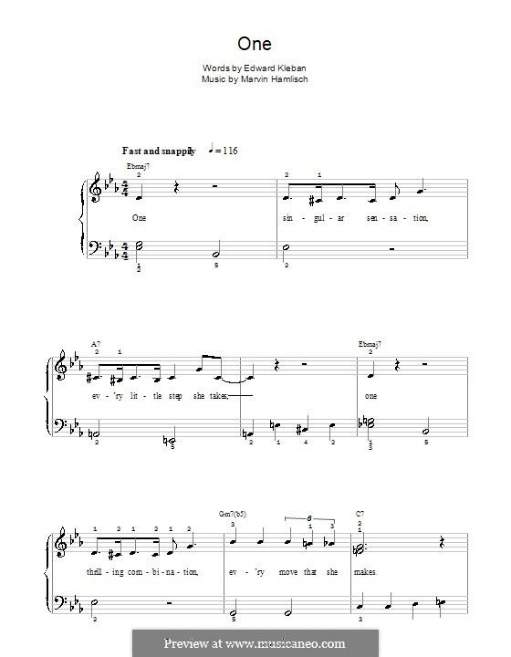 One (from A Chorus Line): Для фортепиано (легкий уровень) by Marvin Hamlisch