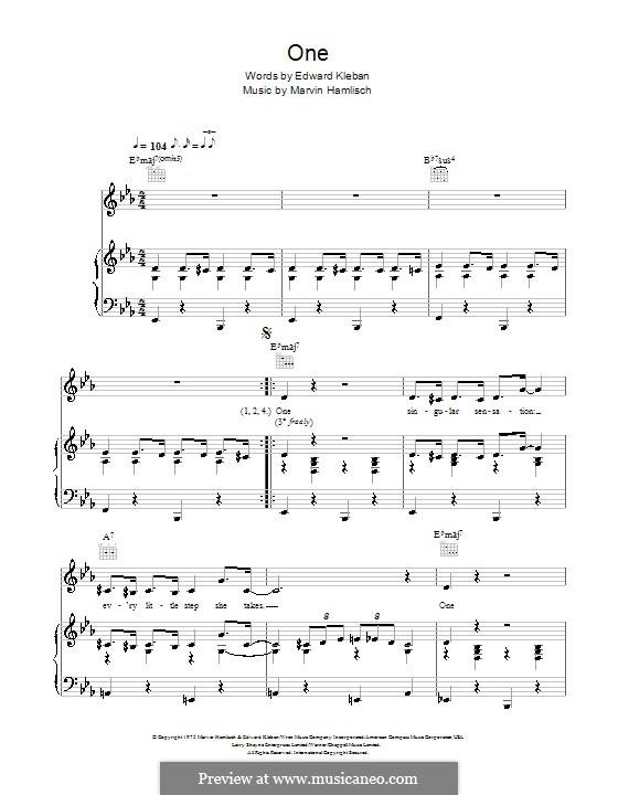 One (from A Chorus Line): Для голоса и фортепиано by Marvin Hamlisch
