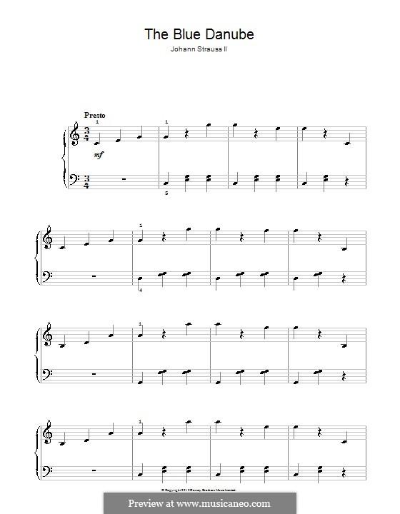 На прекрасном голубом Дунае, для фортепиано, Op.314: Для одного исполнителя by Иоганн Штраус (младший)