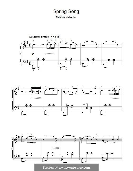 Песни без слов, Op.62: No.6 Весенняя песня, для начинающего пианиста by Феликс Мендельсон-Бартольди
