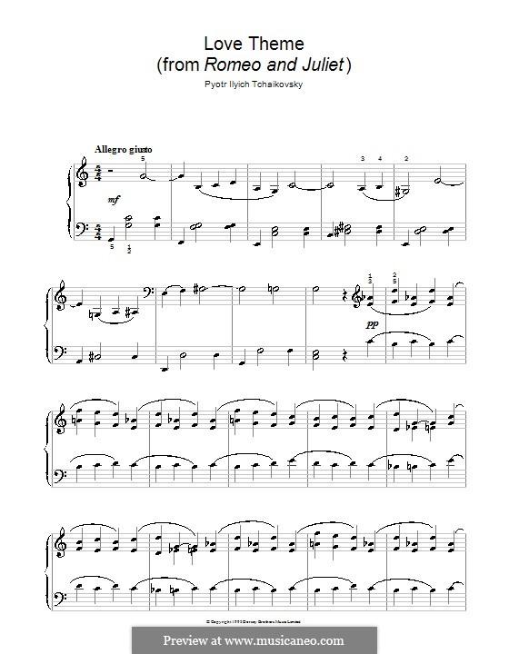 Тема любви: Переложение для начинающего пианиста by Петр Чайковский