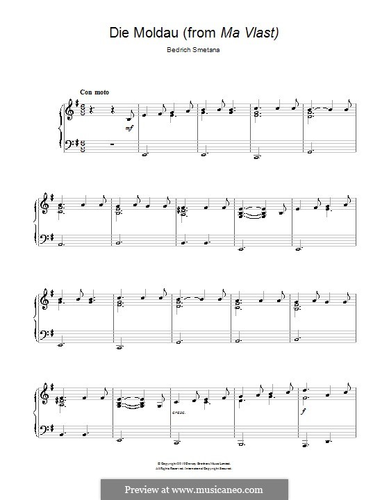 Влтава, T.111: Theme. Version for easy piano by Бедржих Сметана