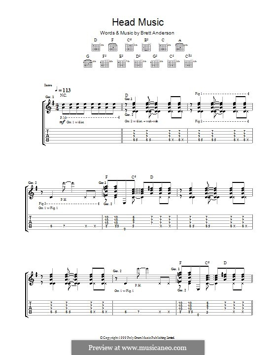 Head Music (Suede): Для гитары с табулатурой by Brett Anderson