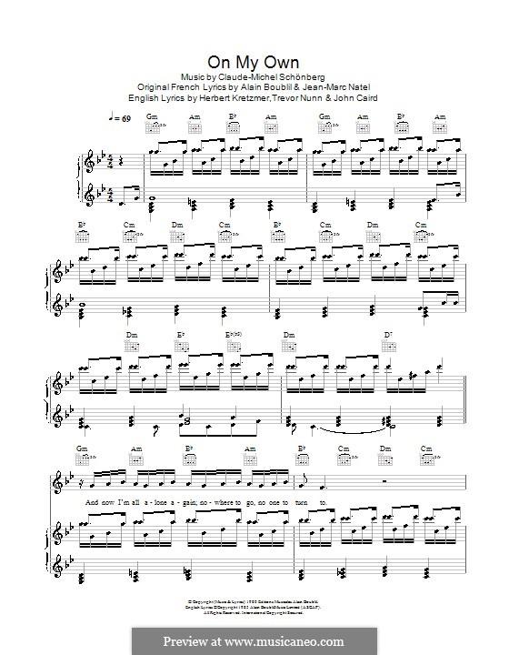 On My Own: Для голоса и фортепиано by Claude-Michel Schönberg