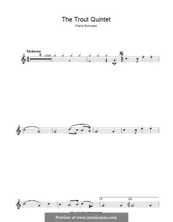 Квинтет для струнных и фортепиано 'Форель', D.667 Op.114: Часть IV (Тема). Версия для флейты by Франц Шуберт