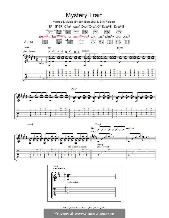 Mystery Train (Bon Jovi): Гитарная табулатура by Billy Falcon, Jon Bon Jovi