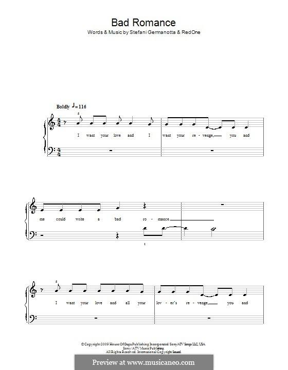 Bad Romance (Lady Gaga): Для фортепиано (легкий уровень) (Glee Cast) by RedOne, Stefani Germanotta