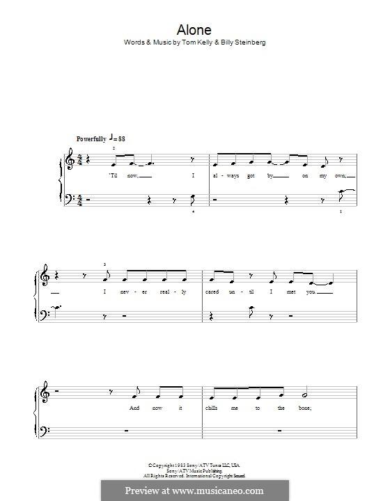 Alone: Для фортепиано (легкий уровень) (Glee Cast) by Billy Steinberg, Tom Kelly