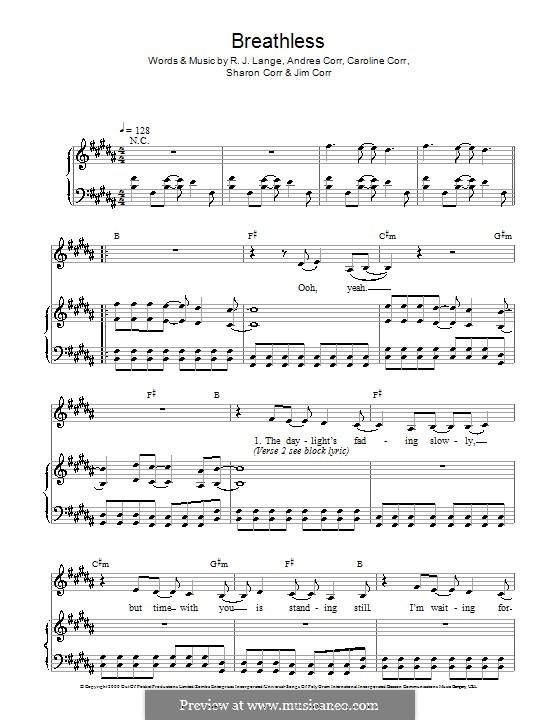 Breathless (The Corrs): Для голоса и фортепиано by Andrea Corr, Caroline Corr, Jim Corr, Sharon Corr